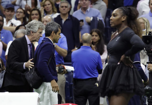 "Umpires are reportedly considering boycotting <a class=""link rapid-noclick-resp"" href=""/olympics/rio-2016/a/1132744/"" data-ylk=""slk:Serena Williams"">Serena Williams</a> matches as they fear the don't have the backing of the tennis world after a contentious U.S. Open final. (AP)"