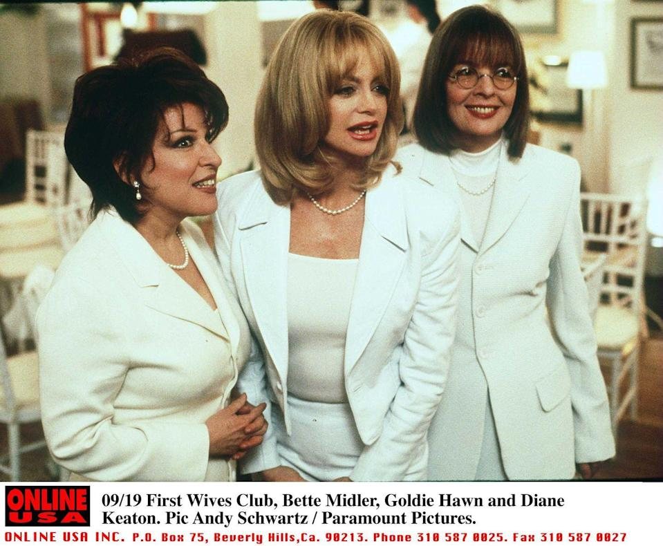 <p>Maybe it was the matching white suits from the final scene of <em>First Wives Club </em>that made such an impression, or perhaps it was the dance sequence. Whatever the case, the actresses' ensembles (pearls included!) will go down in history.</p>