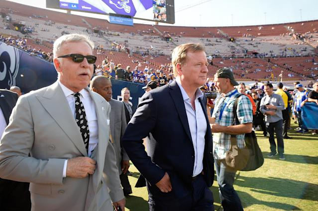 Stan Kroenke, left, proved to be the owner who could bring Roger Goodell and the NFL back to Los Angeles. (Getty Images)