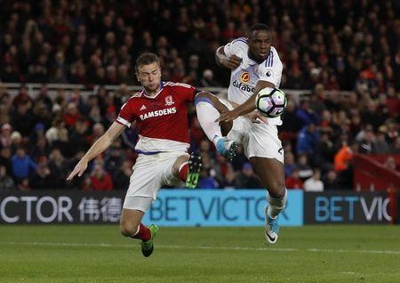Britain Soccer Football - Middlesbrough v Sunderland - Premier League - The Riverside Stadium - 26/4/17 Middlesbrough's Ben Gibson in action with Sunderland's Victor Anichebe Action Images via Reuters / Lee Smith Livepic
