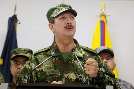 Commander of the Colombian National Army, General Nicacio Martinez speaks during a news conference, in Bogota, Colombia May 20, 2019. REUTERS/Luisa Gonzalez