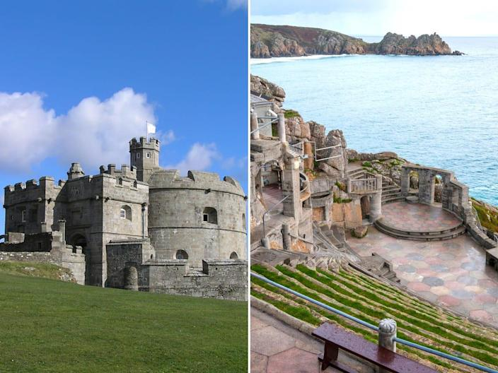 Left, Pendennis Castle, a stone castle with a deep blue sky, right, Minack Theater, the ruins of an old amphitheater overlooking the ocean