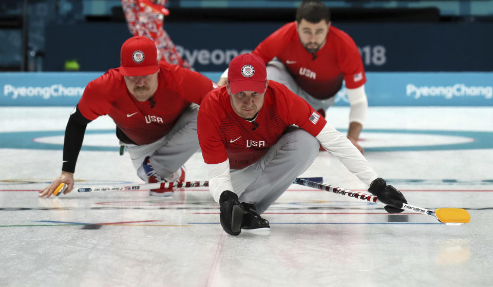 The U.S. curling team takes on Sweden for the gold medal on Saturday. (AP Photo/Aaron Favila)
