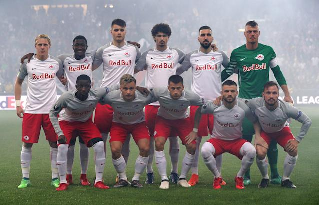 Soccer Football - Europa League Semi Final Second Leg - RB Salzburg v Olympique de Marseille - Red Bull Arena, Salzburg, Austria - May 3, 2018 RB Salzburg players pose for a team group photo before the match REUTERS/Lisi Niesner