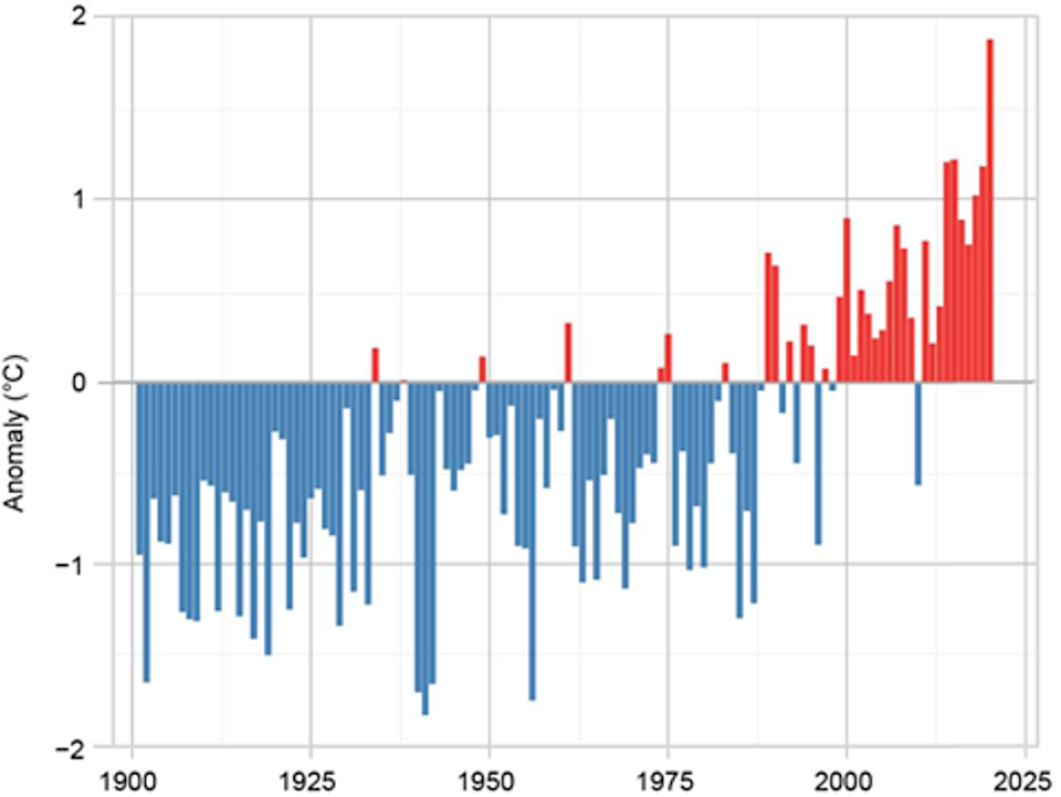 Annual average land temperature anomalies in Europe from 1900-2020 for Europe, relative to the period 1981-2020 (Met Office. Source: Menne et al. (2018))