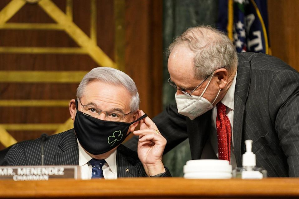 """US Senate Foreign Relations Committee Chairman Robert Menendez (left) and Senator Jim Risch have co-sponsored the Strategic Competition Act of 2021. """"I can't overstate the significance of this bill,"""" Risch said on Wednesday. Photo: EPA-EFE"""