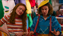 """<p>There's nothing quite like a good old-fashioned dressing room montage. This scene was so good, in fact, that <a href=""""https://www.seventeen.com/celebrity/movies-tv/a34114339/millie-bobby-brown-stole-fake-store-stranger-things/"""" rel=""""nofollow noopener"""" target=""""_blank"""" data-ylk=""""slk:Millie Bobby Brown actually stole some pieces from the Gap they filmed it in"""" class=""""link rapid-noclick-resp"""">Millie Bobby Brown actually stole some pieces from the Gap they filmed it in</a>. Recreate this scene with your redheaded bff for a chill Halloweekend vibe.</p><p><strong>What you'll need: </strong><em>Contrast Collar Striped Rib-Knit Top, $5, SHEIN</em></p><p><a class=""""link rapid-noclick-resp"""" href=""""https://go.redirectingat.com?id=74968X1596630&url=https%3A%2F%2Fus.shein.com%2FContrast-Collar-Striped-Rib-knit-Top-p-1493113-cat-1738.html&sref=https%3A%2F%2Fwww.seventeen.com%2Fcelebrity%2Fmovies-tv%2Fg28354429%2Fdiy-stranger-things-halloween-costumes%2F"""" rel=""""nofollow noopener"""" target=""""_blank"""" data-ylk=""""slk:SHOP NOW"""">SHOP NOW</a></p>"""