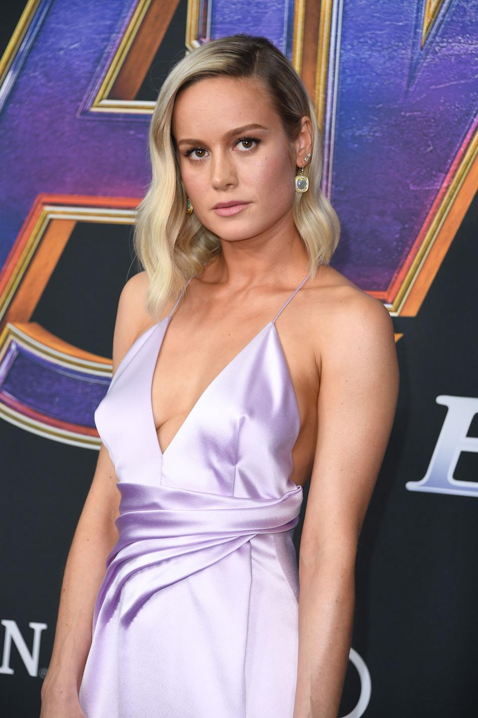 """US actress Brie Larson arrives for the World premiere of Marvel Studios' """"Avengers: Endgame"""" at the Los Angeles Convention Center on April 22, 2019 in Los Angeles. (Photo by VALERIE MACON / AFP)        (Photo credit should read VALERIE MACON/AFP/Getty Images)"""