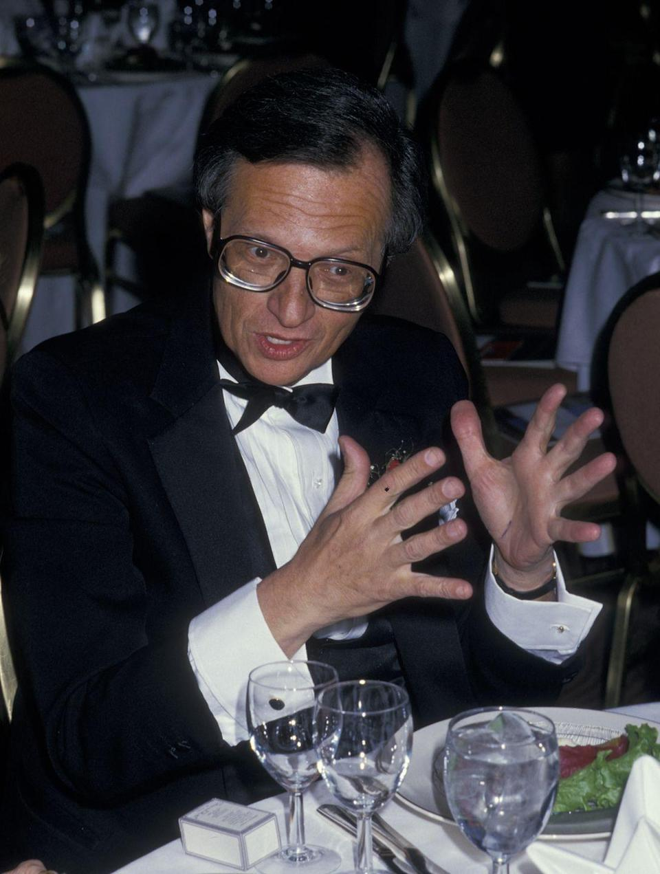 """<p>Larry King was married eight (!) times, but his third and fifth marriages were to the same person. Larry married former <em>Playboy</em> bunny Alene Akins in 1961, and they were married for two years before he filed for divorce in 1963. In 1969, Larry and Alene reunited and remarried, only to divorce (yep) again in 1972. In 2017, Larry mourned the loss of his ex-wife, <a href=""""https://twitter.com/kingsthings/status/827643928463564800"""" rel=""""nofollow noopener"""" target=""""_blank"""" data-ylk=""""slk:sharing on Twitter"""" class=""""link rapid-noclick-resp"""">sharing on Twitter</a>, """"So very saddened over the passing of Alene Akins, who died peacefully with our children Chaia and Andy by her side. She was a grand lady.""""</p>"""