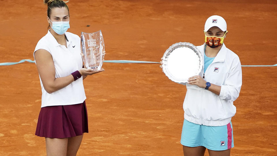 Aryna Sabalenka and Ash Barty, pictured here after the Madrid Open final.