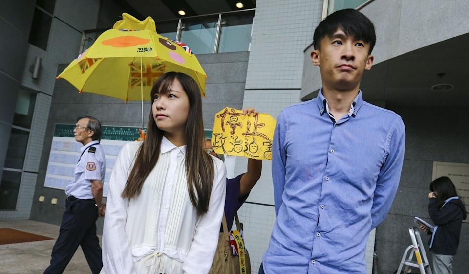 Yau Wai-ching (left) and Sixtus Leung learn the outcome of their court case relating to oath-taking irregularities in 2018. Photo: Dickson Lee