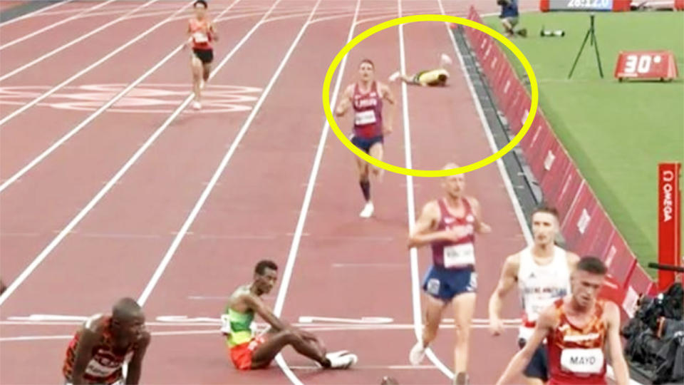 Patrick Tiernan, pictured here collapsing in the 10,000m final.