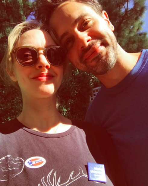 "From the smiles on their faces, it appears these two are on the same page politically. The couple, who announced their engagement in September, hit the polls together. ""Voted and it feels so right,"" wrote Seyfried. (Photo: Instagram)"