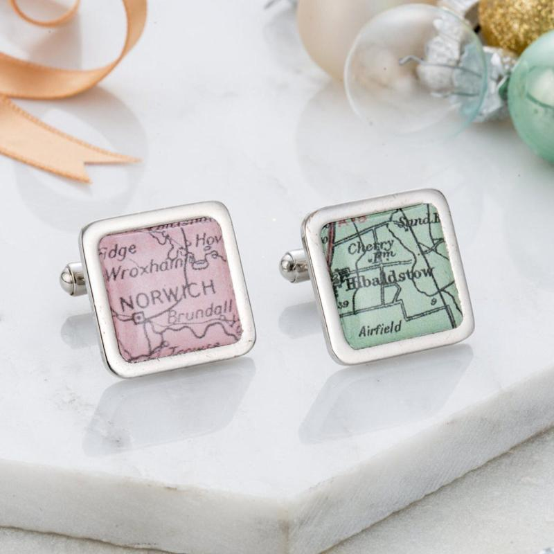 """<a href=""""https://fave.co/2qjYZKm"""">Personalised Map Cufflinks, Posh Totty Designs, Etsy, </a>&pound;20 (Photo: Huffington Post UK )"""