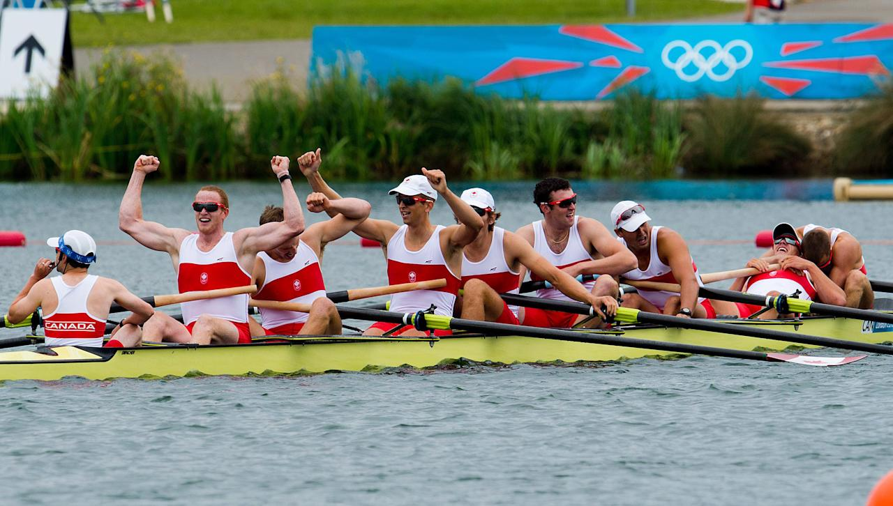 Canada's men's eight rowing team members Gabriel Bergen, right to left, Douglas Csima, Rob Gibson, Conlin McCabe, Malcolm Howard, Andrew Byrnes, Jeremiah Brown, Will Crothers, and cox Brian Price win silver at Eton Dorney during the 2012 Summer Olympics in Dorney, England on Wednesday, August 1, 2012. THE CANADIAN PRESS/Sean Kilpatrick