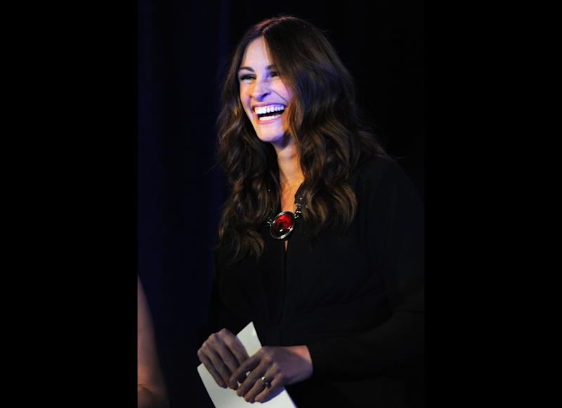 Actress Julia Roberts speaks onstage at the Cinema For Peace event benefitting J/P Haitian Relief Organization in Los Angeles held at Montage Hotel on January 14, 2012 in Los Angeles, California. (Photo by Michael Buckner/Getty Images For J/P Haitian Relief Organization and Cinema For Peace)