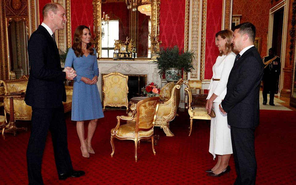 Prince William and the Duchess of Cambridge meet with Ukraine's President Volodymyr Zelenskiy and his wife Olena - Reuters