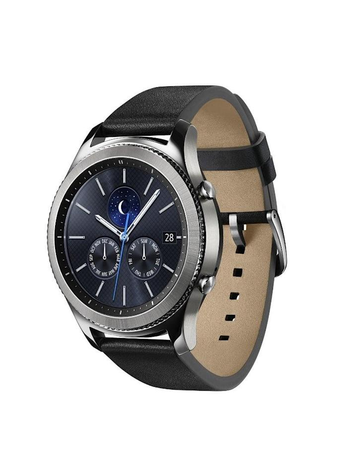 "<p>There are plenty of smartwatches out there, but the <span>Samsung Gear S3 Classic Smartwatch""</span> ($285, originally $350) is stylish and sleek. It has an IP68 water-resistance rating, works with Samsung Pay, receives calls and texts, and does more directly via Bluetooth - all while still looking like a regular watch.</p>"