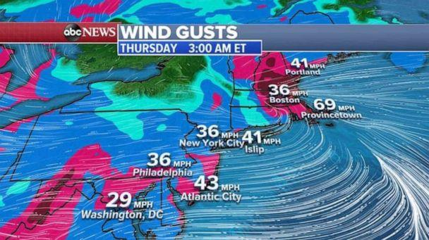 PHOTO: Very gusty winds are expected along I-95 corridor and some gusts could be higher than 50 mph. (ABC News)