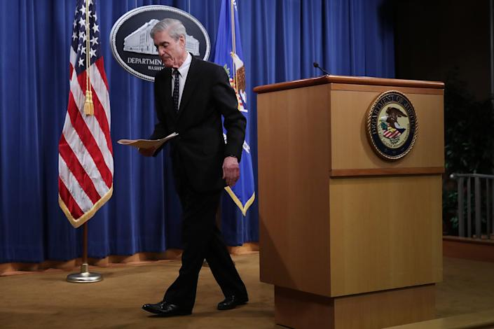 WASHINGTON, DC - MAY 29: Special Counsel Robert Mueller walks away from the podium after making a statement about the Russia investigation on May 29, 2019 at the Justice Department in Washington, DC. Mueller said that he is stepping down as special counsel and that the report he gave to the attorney general is his last words on the subject.