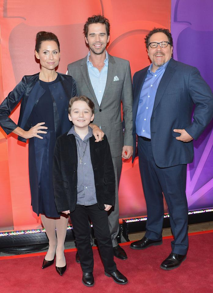 NEW YORK, NY - MAY 13: (L-R) Actors Minnie Driver, Benjamin Stockham, David Walton and Jon Favreau attend 2013 NBC Upfront Presentation Red Carpet Event at Radio City Music Hall on May 13, 2013 in New York City.  (Photo by Slaven Vlasic/Getty Images)
