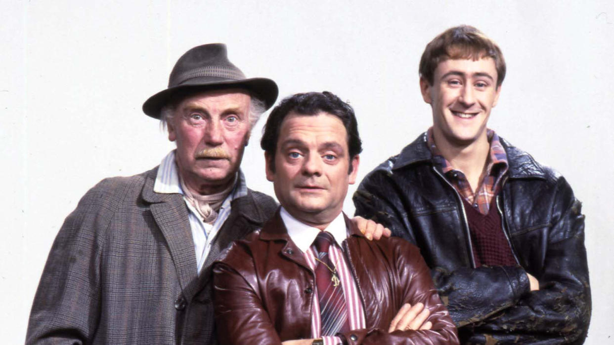 Lennard Pearce, David Jason and Nicholas Lyndhurst in 'Only Fools and Horses'. (Photo by Photoshot/Getty Images)