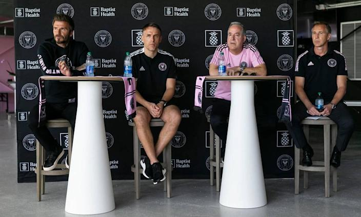 From left to right: David Beckham, Phil Neville, Jorge Mas and Chris Henderson speak to the press during an Inter Miami preseason event at Inter Miami CF Stadium in Fort Lauderdale on Saturday, February 27, 2021.