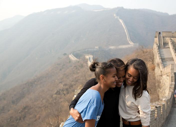 'March 23, 2014 'A great moment captured by Amanda Lucidon of the First Lady and daughters Sasha and Malia during their visit to the Great Wall of China.' (Official White House Photo by Amanda Lucidon) This official White House photograph is being made available only for publication by news organizations and/or for personal use printing by the subject(s) of the photograph. The photograph may not be manipulated in any way and may not be used in commercial or political materials, advertisements, emails, products, promotions that in any way suggests approval or endorsement of the President, the First Family, or the White House. (Photo by Amanda Lucidon/White House/Handout/The White House/Corbis via Getty Images)