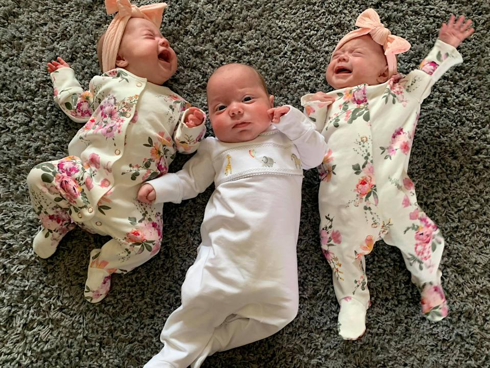 (L-R) Olivia now weighs 8.11lb, George is 10.11lb, and Ella 7lb. (SWNS)