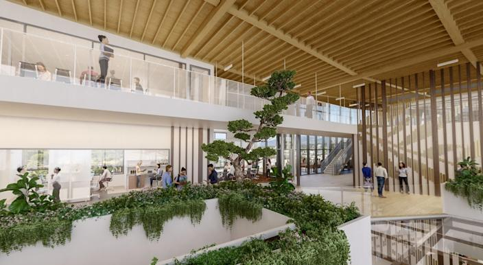 """A rendering of the Ellison Institute for Transformative Medicine at USC, with interior design by RCH Studios. <span class=""""copyright"""">(Kilograph)</span>"""