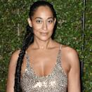 """All faux ponytails aren't created equal, and Tracee Ellis Ross leveled up both length and texture with this fishtail braid. To make your hair extra sleek and shiny, try adding a hair pomade like <a href=""""https://amzn.to/3l6UGJA"""" rel=""""nofollow noopener"""" target=""""_blank"""" data-ylk=""""slk:Carol's Daughter Mimosa Hair Honey"""" class=""""link rapid-noclick-resp"""">Carol's Daughter Mimosa Hair Honey</a>. It'll easily slick back fly aways while making your hair look radiant."""