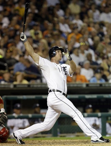 Detroit Tigers' Brennan Boesch hits a two-run home run against the Los Angeles Angels in the seventh inning of a baseball game in Detroit, Monday, July 16, 2012. (AP Photo/Paul Sancya)