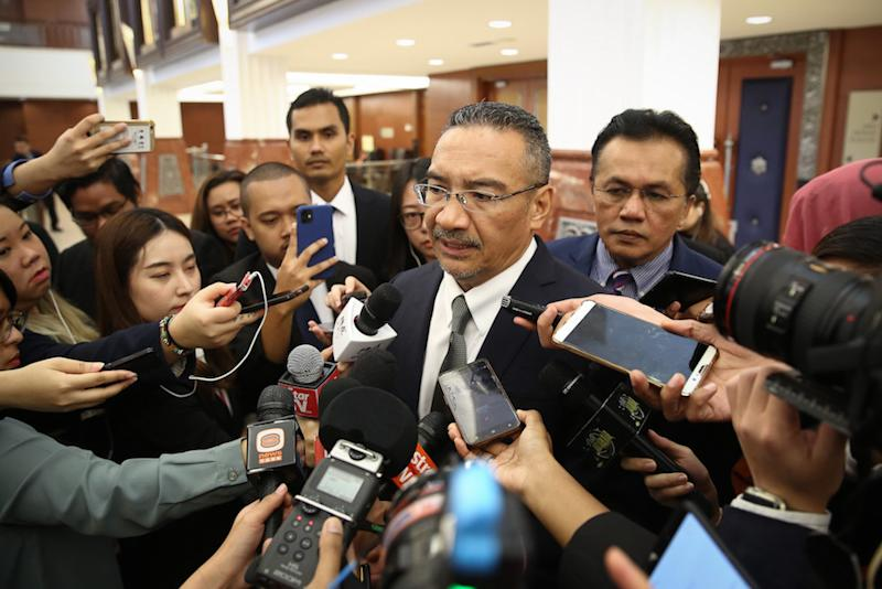 Sembrong MP Datuk Seri Hishammuddin Hussein is pictured in Parliament November 18, 2019. — Picture by Yusof Mat Isa