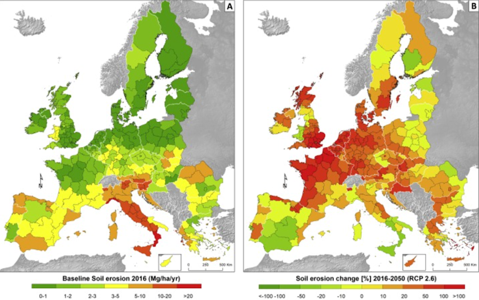 Left, the 2016 baseline and right, the changes in soil erosion by 2050 (EC JRC)