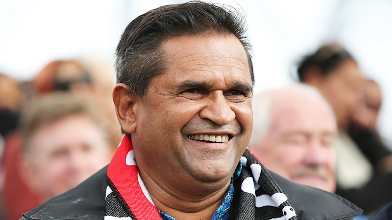 Nicky Winmar is pictured at his stature unveiling in Perth, in July 2019.