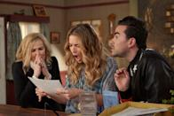 """<p>This sitcom chronicles a wealthy couple and their adult children who suddenly find themselves completely bankrupt. They're forced to move to a small town called <a class=""""link rapid-noclick-resp"""" href=""""https://www.popsugar.co.uk/Schitt%E2%80%99s-Creek"""" rel=""""nofollow noopener"""" target=""""_blank"""" data-ylk=""""slk:Schitt's Creek"""">Schitt's Creek</a> - their last remaining asset, which they'd purchased years prior as a joke. This show is an absolute hit while sober, but weed seems to take this show's comedic aspects to new heights. </p> <p><a href=""""http://www.netflix.com/title/80036165"""" class=""""link rapid-noclick-resp"""" rel=""""nofollow noopener"""" target=""""_blank"""" data-ylk=""""slk:Watch Schitt's Creek on Netflix now."""">Watch <b>Schitt's Creek</b> on Netflix now.</a></p>"""