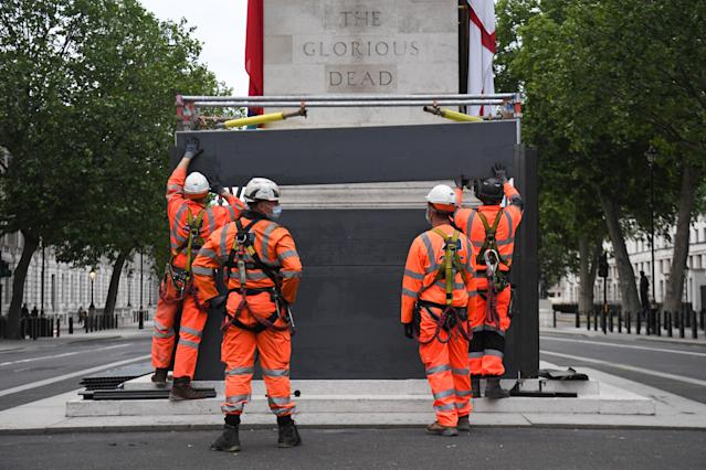 The decision to board up the Cenotaph has sparked anger. (Getty Images)