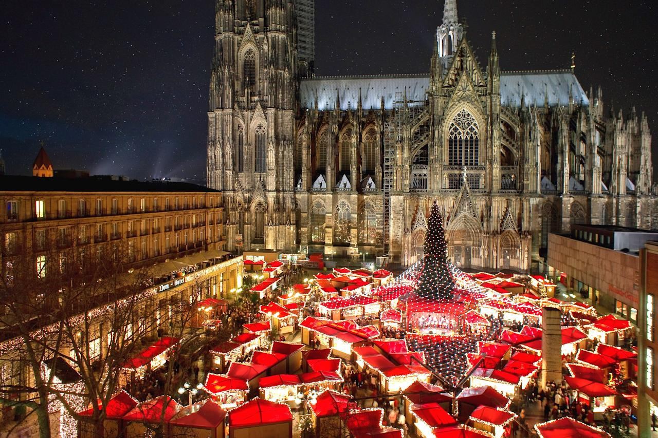 """<p><strong>Location:</strong> Cologne Cathedral</p> <p><strong>Dates open:</strong> November 25 to December 23</p> <p><strong>Why we love it:</strong> <a href=""""https://www.cologne.de/events/christmas-markets/cathedral-x-mas-market.html"""">This market</a> has everything you'd expect of a classic German spread: the glühwein, the crafts, the twinkling lights. One thing that stands out, though, is its entertainment—more than 100 stage performances throughout the festival, including Christmas swing music and gospel. After you've had your fill of tunes (and food), head toward nearby Hohe Strasse and Schildergasse, two of <a href=""""https://www.cntraveler.com/gallery/most-beautiful-places-in-germany?mbid=synd_yahoo_rss"""" target=""""_blank"""">Cologne's</a> well-known shopping areas, to walk off all those bratwurst.</p> <p><strong>Where to stay:</strong> <a href=""""https://hopper-et-cetera.colognehotel.net/en/"""" target=""""_blank"""">Hopper Et Cetera Hotel, St. Antonius</a> (0.5 miles away)</p>"""