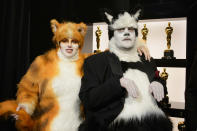 "<p>Remember Cats? The remake's ""stars"" Rebel Wilson and James Corden poked fun at the dud/box-office flop during the telecast. Yes, that was jus last year, too. (Eric McCandless/Getty Images)</p>"