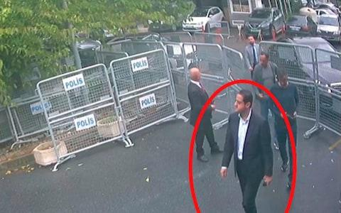 <span>Maher Abdulaziz Mutreb, named by Turkish officials as one of 15 Saudi suspects in the suspected killing of Jamal Khashoggi, is seen (circled). In a still image from surveillance camera footage</span> <span>Credit: AP </span>
