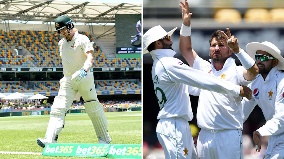 Pictured on the right, Yasir Shah reminds Steve Smith how many times he has got him out in Test cricket.