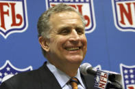 FILE - In this March 8, 2006, file photo, then-NFL Commissioner Paul Tagliabue smiles while addressing the media at an NFL owners meeting in Grapevine, Texas. Former NFL Commissioner Paul Tagliabue has made the Pro Football Hall of Fame in his fifth attempt. Tagliabue and former New York Giants general manager George Young made it as contributors. Ex-Dallas Cowboys safety Cliff Harris and former Cleveland receiver Mac Speedie completed the centennial class announced Wednesday, Jan. 15, 2020. The class of 10 senior candidates, three contributors and two coaches are part of the hall's celebration of the NFL's 100th season. (AP Photo/D.J. Peters, File)
