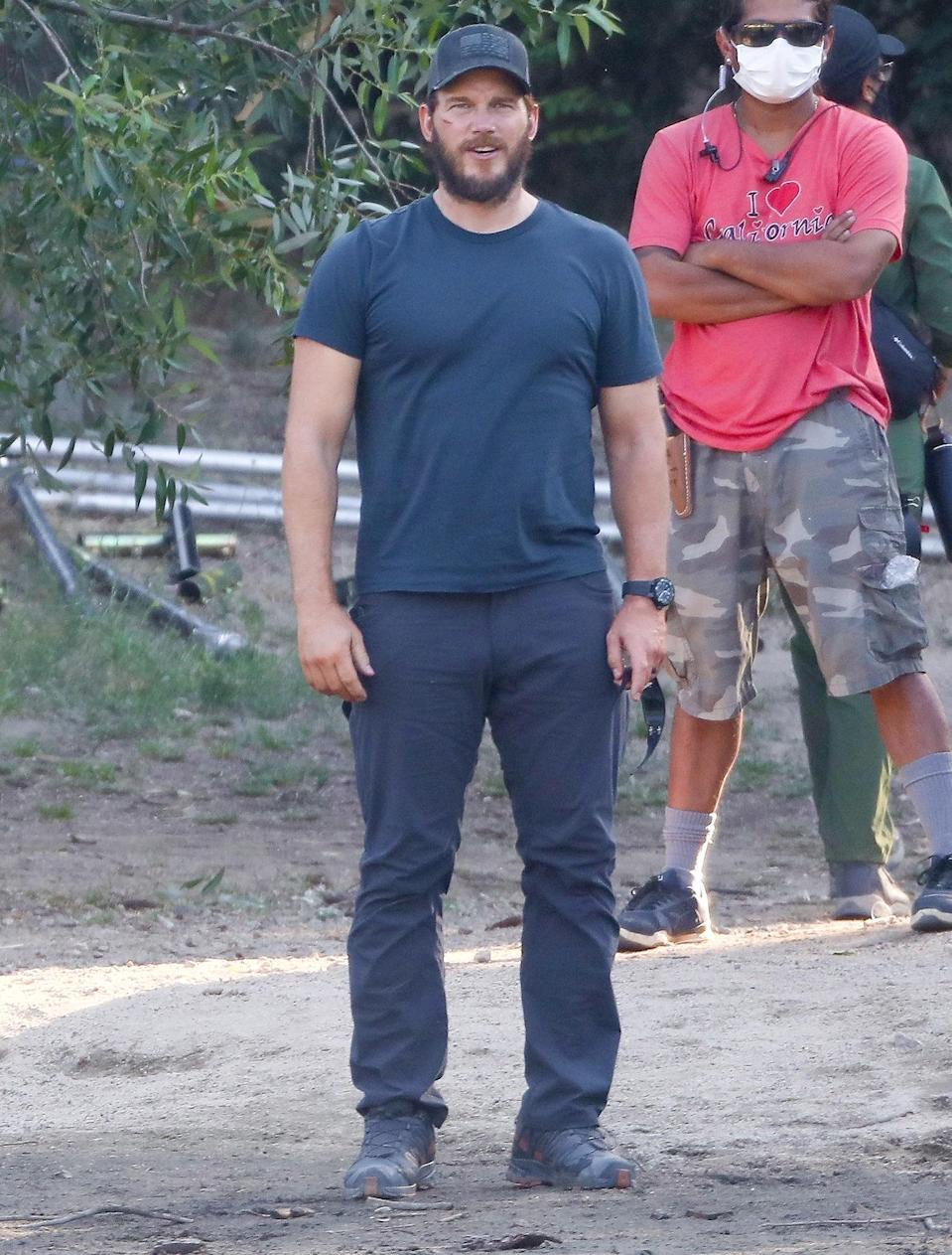 <p>Chris Pratt is spotted on the set of Amazon's conspiracy-thriller series<em> The Terminal List </em>at Lake Arrowhead in California on July 20.</p>