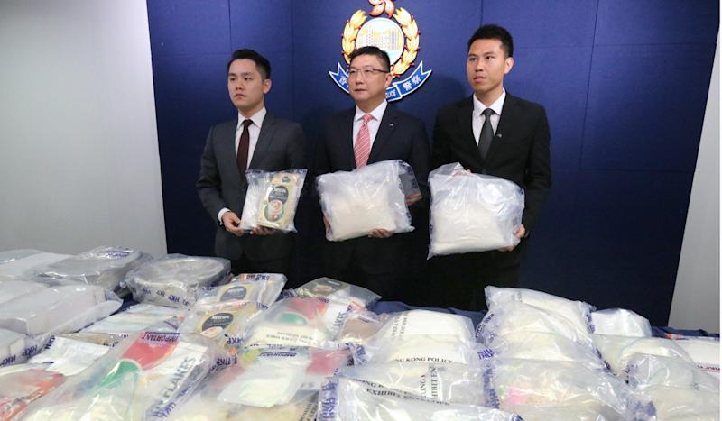 Three arrested as Hong Kong police seize estimated HK$42 million worth of drugs from Yuen Long flat