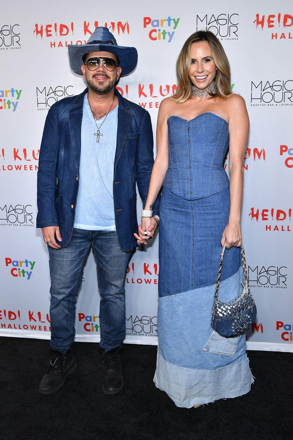 """<p>Remember Justin Timberlake's and Britney Spears's matching all-denim (""""Canadian tuxedo"""") outfits? Now you do, thanks to David Batista and Keltie Knight's costumes at Heidi Klum's famous Halloween celebration in 2018.</p>"""