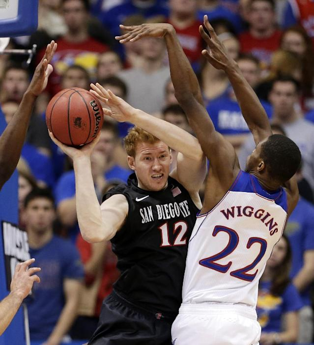 San Diego State's James Johnson (12) looks to pass around Kansas' Andrew Wiggins (22) during the first half of an NCAA college basketball game Sunday, Jan. 5, 2014, in Lawrence, Kan. (AP Photo/Charlie Riedel)