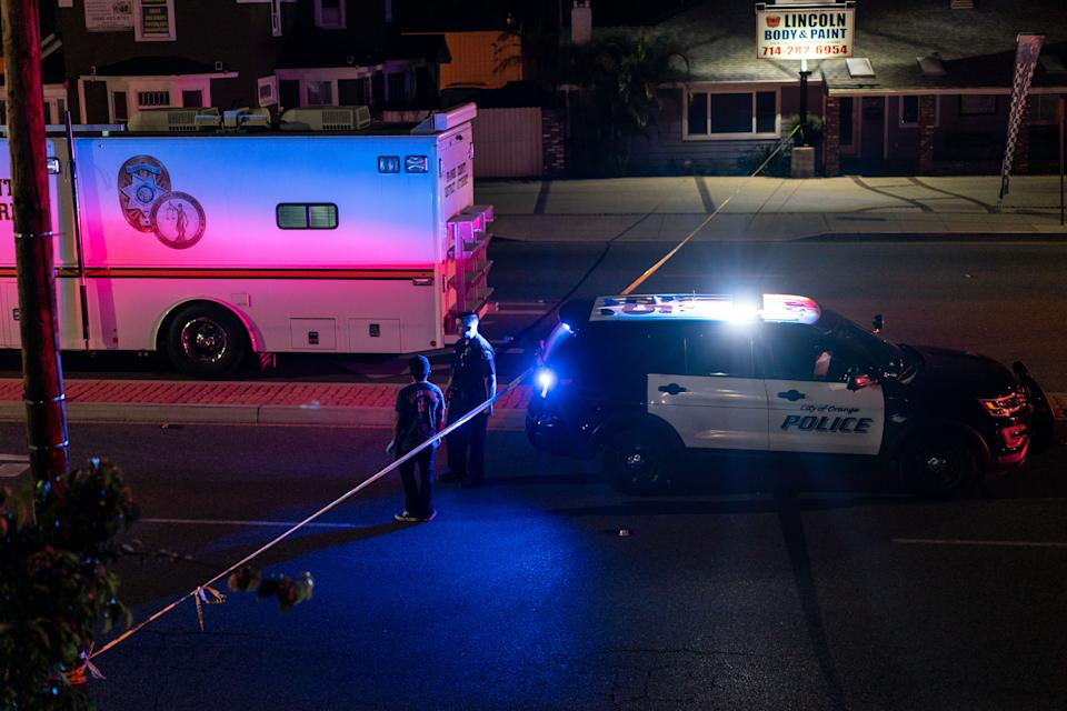 <p>ORANGE, CA - MARCH 31: Law enforcement respond to the scene of a shooting that left four people dead at an office building in Orange County on Wednesday, March 31, 2021 in Orange, CA. (Kent Nishimura / Los Angeles Times via Getty Images)</p>