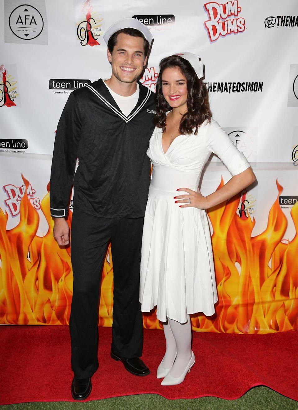 <p>Actors Bryan Lillis and Chelsea Ricketts showed up to the Mateo Simon's Annual Charity Halloween event in 2018 dressed as a WWII soldier and attending nurse. </p>
