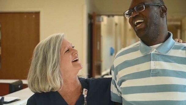 PHOTO: Piedmont Newnan Hospital posted video on Facebook announcing an award for ICU nurse Lori Wood after she adopted a 27-year-old man with autism so he could have heart surgery. (Piedmont Newnan Hospital )
