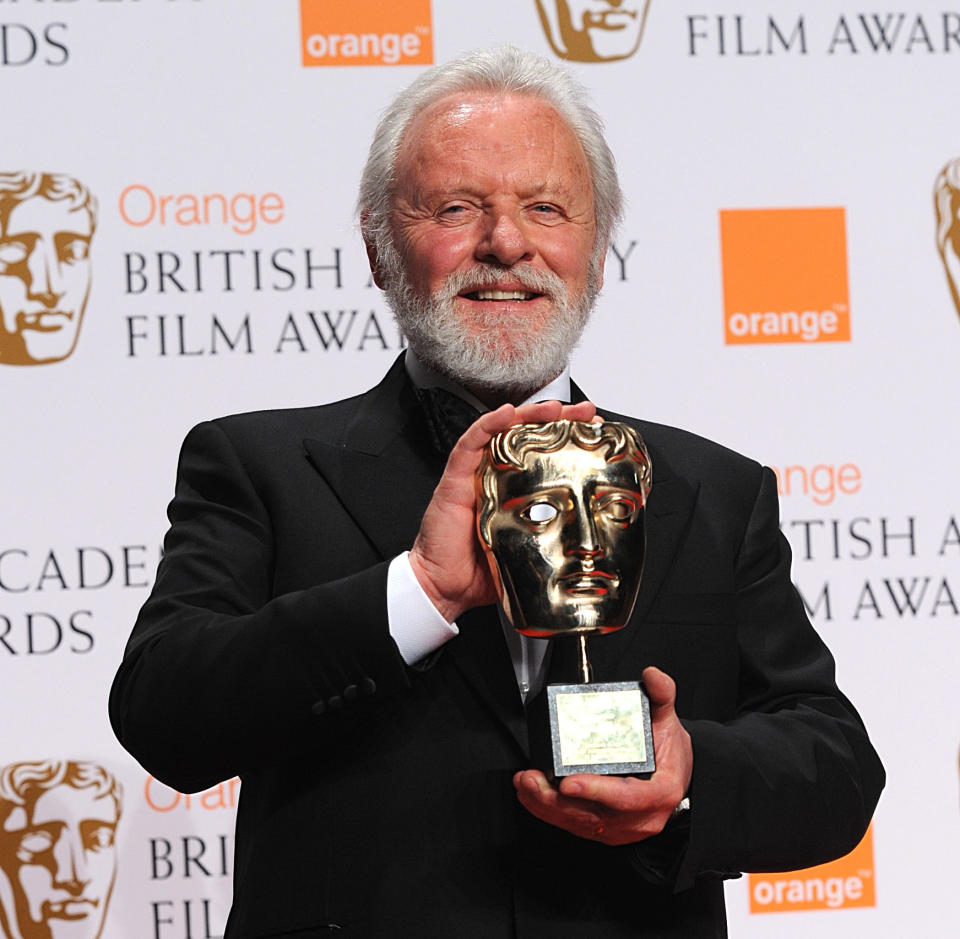 Sir Anthony Hopkins with the Academy Fellowship award during the 2008 Orange British Academy Film Awards. (Photo by Joel Ryan/PA Images via Getty Images)